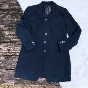 NWT Donna Karan Silk Navy Blazer Jacket
